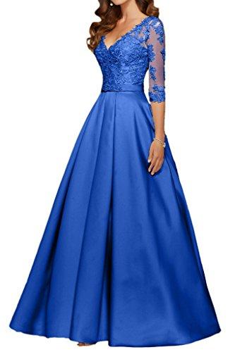 Promgirl House Damen Prinzessin Royalblau Spitze V-Ausschnitt Abendkleider Ballkleider mit Aermel-40 Royalblau