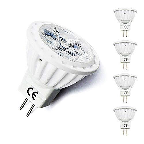 Bonlux GU4 MR11 LED Birne 4W AC/DC 12V Spotlampe Warmweiß 3000K 120°Abstrahlwinkel Flimmerfrei Wärmeableitung aus Aluminium Ersatz für 35W Halogenlampe nicht Dimmbar (4-Stück)