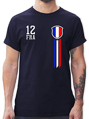 Fussball EM 2021 Fanartikel - 12. Mann Frankreich Fanshirt - L - Navy Blau - Frankreich Trikot 2020/21 - L190 - Tshirt Herren und Männer T-Shirts