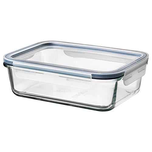 Lebensmittelbehälter mit Deckel, rechteckiges Glas, Kunststoffglas, 1,0 Liter, Produktgröße Länge: 21 cm, Breite: 15 cm, Höhe: 7 cm, Volumen: 1,0 Liter