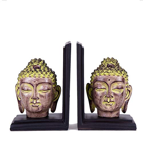 Kunst Buchstütze Der Buddha Skulptur Resin Bookend for Bibliothek Office Home Study Schreibtisch-Organisator Set 2 Office Study Decor (Color : Buddha, Size : 35x12x18.5cm)