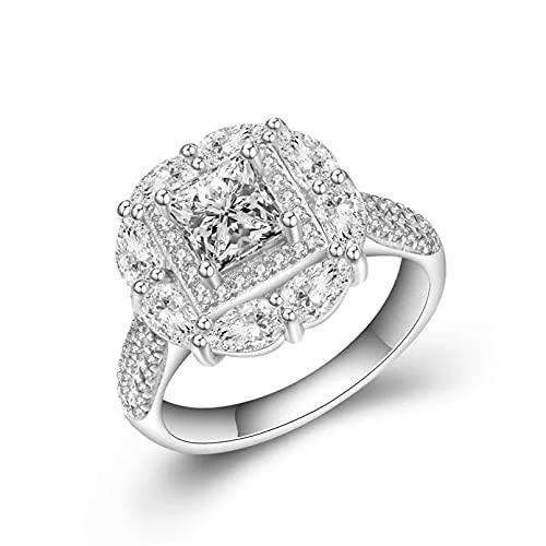 BAJIE Anillo de Boda, joyería de Color Plateado, Anillo de Diamantes, Gota de Agua, Gema Cuadrada, Anillo de Diamantes de Plata 925 para Mujer