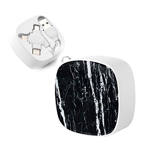 3-in-1 USB Cable, JOEKAORY Retractable Flat Micro USB Cable Type C Fast Charging Cord for iPhone, iPad, Samsung, LG, HTC (Black and white marble)