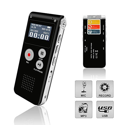 Voice Recorder, Digital Voice Recorder, Voice Activated Recorder with Playback, Rechargeable Tape Dictaphone Recorder for Lectures, Meetings, Interviews, Mini Audio Recorder, MP3 Player New Black