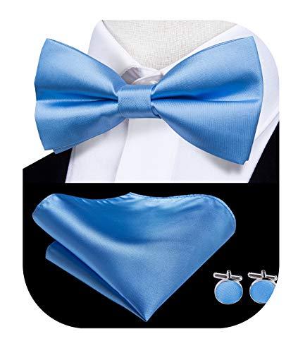 Dubulle - Juego de pajarita y pajarita de seda para hombre con gemelos, pajarita y pañuelo