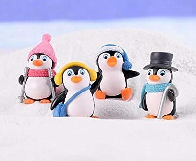 L_shop Winter Penguin Miniature Figurine Mini Christmas Figures Home Decoration Kawaii DIY Fairy Garden Ornaments Resin Craft Kids Toys