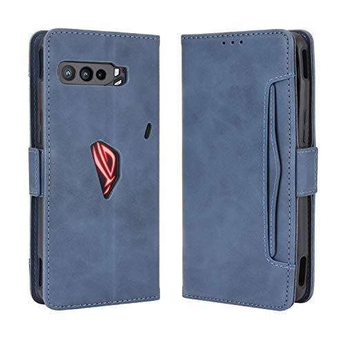 Lederhülle für Asus ROG Phone 3 ZS661KS Hülle, Flip Hülle Schutzhülle Handy mit Kartenfach Stand & Magnet Funktion als Brieftasche, Tasche Cover Etui Handyhülle für Asus ROG Phone 3 ZS661KS, Blau