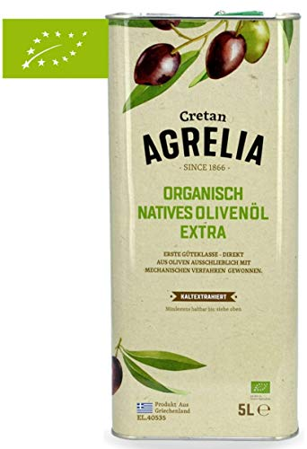 "BIO Olivenöl \""Agrelia\"" 5,0l Kanister von Kreta | Extra natives Bio Olivenöl | Kaltgepresst | Aus Griechenland | Almpantakis Family seit 1866 | DE-ÖKO-037"