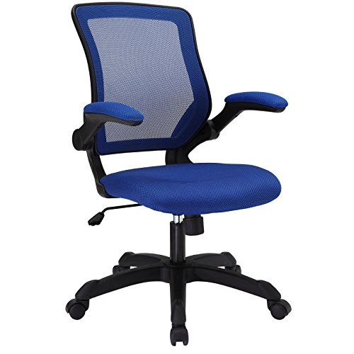 Modway Veer Office Chair with Mesh Back and Vinyl Seat With Flip-Up Arms in Blue