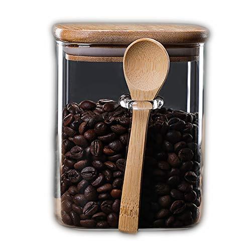 Baximi Tarro cuadrado de vidrio sellado con cuchara de madera granos de café caja de gran capacidad contenedor de alimentos de grano transparente tanque de cereales (800 ml)