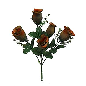 Silk Flower Arrangements Artificial Faux 5 Rose Buds Bush Silk Flowers Wedding Fake Bouquet Party Decor #AFFTM