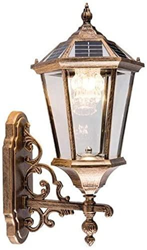 ASDF Linterna de Pared Solar LED Lámpara de Vidrio Antiguo nórdico Aluminio Externo Aplique de Pared a Prueba de Lluvia IP55 Paisaje Pasillo de la casa Pasillo Exterior Luz de Pared (Color: Bronce)