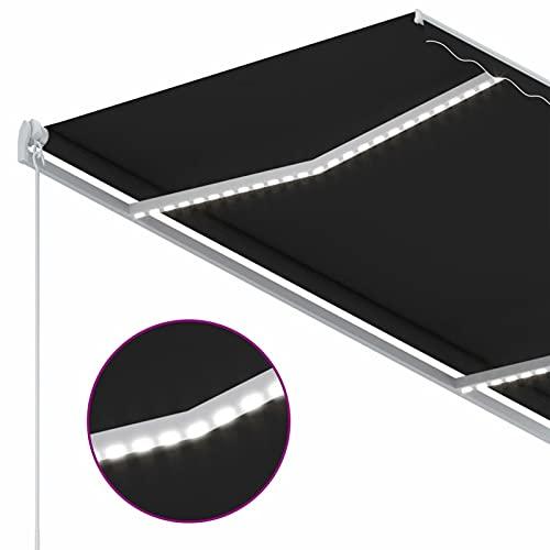 Tidyard Toldo retráctil con LED 1# Toldo automático Sensor de Viento Amarillo Blanco 300x250cm Toldo Terraza Toldos Impermeables Exterior Toldo de Balcón Terraza Jardín Balcón