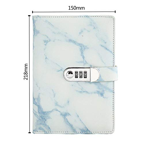 TOSISZ A5 Marble Texture Notebook Password Lock Notebooks Leather Notepad Agenda Weeks Diary Month Planner School  Stationery,Blue,A5