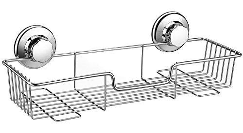 iPEGTOP Compact mensola con Ventose Forti rettangolo Cestino portaoggetti per Bagno Cucina Organizer da Bagno, in Acciaio Inox, portaoggetti da Doccia