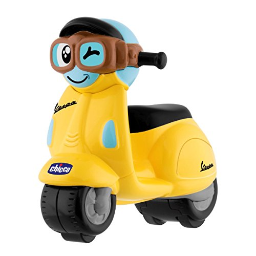 Chicco - Mini Moto, Vespa Turbo Touch, con Carga por Retroceso, Color Amarillo