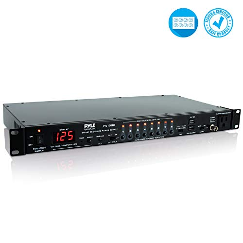 8 Outlet Power Sequencer Conditioner - 2200W Rack Mount Pro Audio Digital Power Supply Controller Regulator w/ Voltage Readout, Surge Protector, For Home Theater, Stage / Studio Use - Pyle PS1000