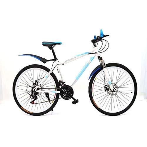 YAOXI Mountainbike Mit Stoßdämpfung Der Federgabel, 21-Gang Rutschfester Griff Fahrrad Scheibenbremsen Vorne Und Hinten Kinderfahrrad Jungen-Mädchen-Fahrrad,White/Blue,20Inch