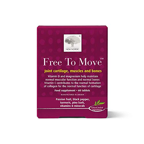 New Nordic Free to Move - 60 Tablets - Supports Joint Cartliage Muscle and Bone - Contains Vitamin C and D and Magnesium - Suitable for Men and Women