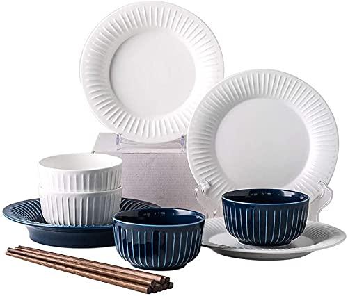 Juego de Platos, Conjunto de Cena de cerámica, 12 Piezas de vajilla de cerámica de cerámica adecuados para 4 Personas Microondas, Euro Ceramica