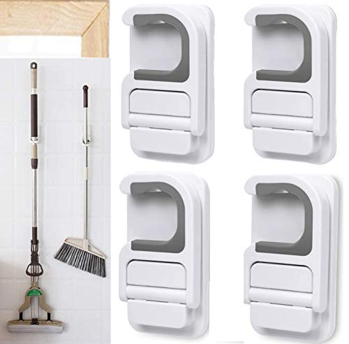 Hooks for Brooms, Mop and Broom Holder Broom Grippers C-Shape Self Adhesive Anti-Slip Hook, Hook Broom Hanger Organizer Wall Mount Mops Rakes Holder No Drilling Box packaging, the best gift for family