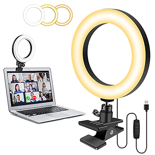 Upgrade Ringlicht Laptop Videokonferenz Licht,Evershop LED Ringleuchte mit Clip 3 Lichtfarben+10 Helligkeiten 360°Drehbar Videoleuchte für Videoaufnahmen,Videoanrufe,Foto,Live-Stream, YouTube TikTok