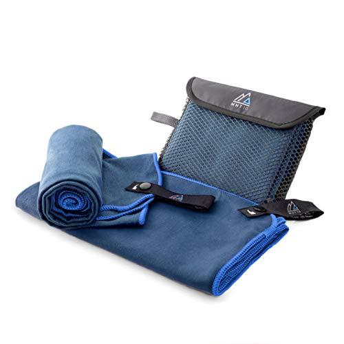 MNT10 Mikrofaser Handtuch mit Tasche I Navy Blau 50 x 110cm I klein & schnelltrocknend I Premium Reisehandtuch in verschiedenen Farben & Größen I Ideal als Fitness, Sport, Sauna, Badetuch, Strandtuch