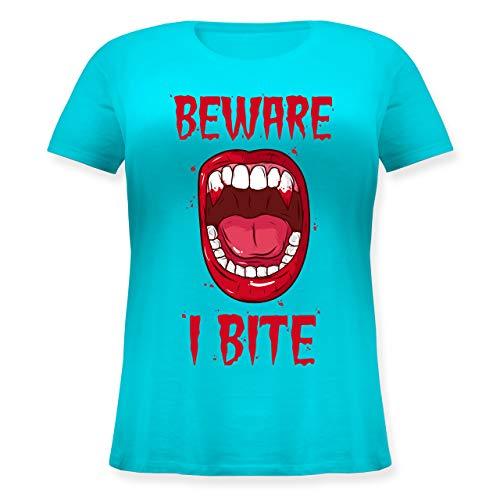 Halloween - Beware - i bite - L (48) - Hellblau - Halloween - JHK601 - Lockeres Damen-Shirt in großen Größen mit Rundhalsausschnitt