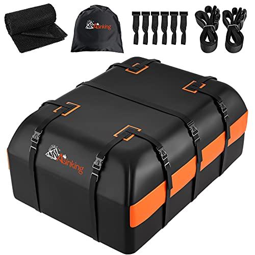 Asinking Car Rooftop Cargo Carrier Bag, 21 Cubic Feet 100% Waterproof Heavy Duty 840D Car Roof Bag for All Vehicle with/Without Racks - Anti-Slip Mat, 6 Door Hooks, Storage Bag, 2 Extra Straps