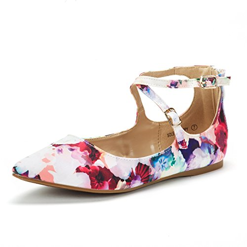 DREAM PAIRS Women's Sole-Strappy Floral Ankle Straps Flats Shoes - 8.5 M US