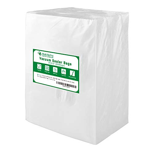 Premium!! MakMeFre 200 Quart Size 8x12Inch Vacuum Sealer Bags for Food Saver,Commercial Grade,BPA Free,Puncture Prevention,Great for Sous Vide