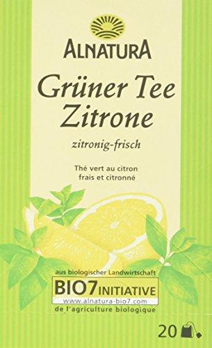 Alnatura Bio Grüner Tee Zitrone, 20 Beutel, 40 g