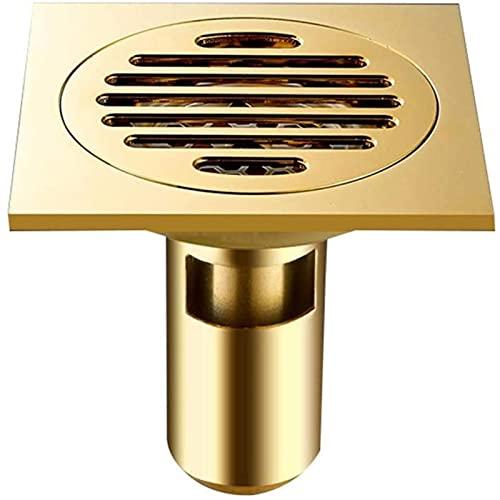 Badrum golvavlopp, avloppsanläggning avlopp, badrum och kök snidat 10 × 10 cm (gyllene) duschavloppsfilter, guld, 10 x 10 x 9 cm