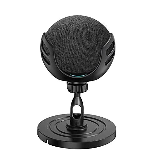 Vakdon - Supporto da tavolo per Echo Dot (4a generazione), supporto regolabile a 360°, supporto per altoparlante intelligente, supporto antiscivolo, adatto per il soggiorno e la camera (nero)