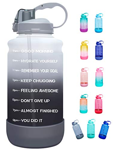 Elvira Half Gallon/64oz Motivational Time Marker Water Bottle with Straw & Protective Silicone Boot, BPA Free Anti-Slip Leakproof for Fitness, Gym and Outdoor Sports