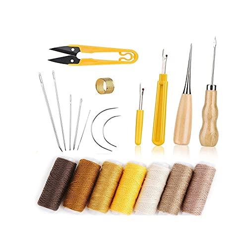 XiaoG Conjunto de Herramientas de Costura Artesanal de Cuero, con Agujas de Costura a Mano, dedales de AWL, Hilo Encerado, Rippers de Costura, para la Costura de Cuero de Bricolaje (Color : 1)