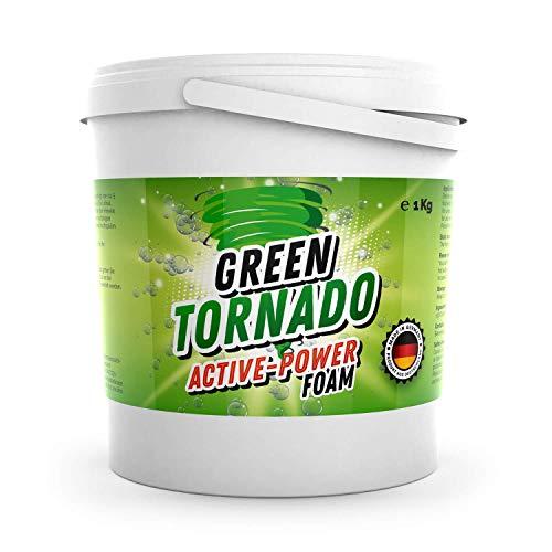 Green Tornado - Active-Power Foam | WC Reiniger mit Aktivsauerstoff - Schaumreiniger, Abflussreiniger und Rohrreiniger - Rohrfrei - Ideal für Badewanne, Waschbecken, Dusche, Küche, Bad, Toilette (1kg)