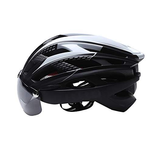 fuchsiaan Ultraleichter Mountainbike Fahrrad Fahrradhelm mit Goggle LED Rücklicht für Erwachsene Männer und Frauen White+Black