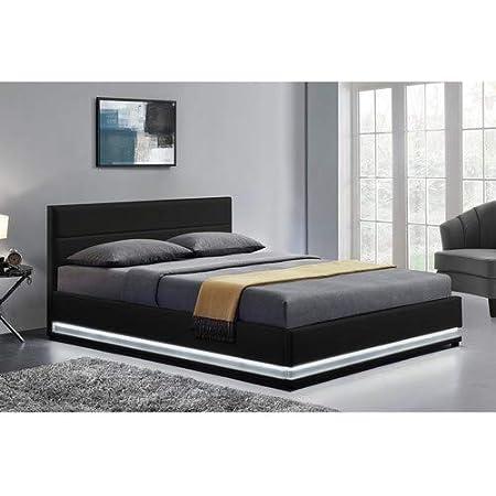 LOdin - Estructura de cama, con baúl, somier y led integrada, 160 x 200 cm
