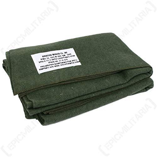 Epic Militaria - Couverture américaine en laine vert olive, une reproduction de celle de la Seconde Guerre Mondiale