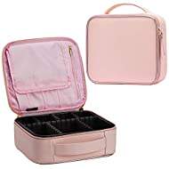 Stagiant Makeup Bag Portable Travel Makeup Train Case PU Leather Cosmetic Storage Organizer with Dividers for Girls Cosmetic Make Up Tools Toiletry Jewelry Digital Accessories (Pink)