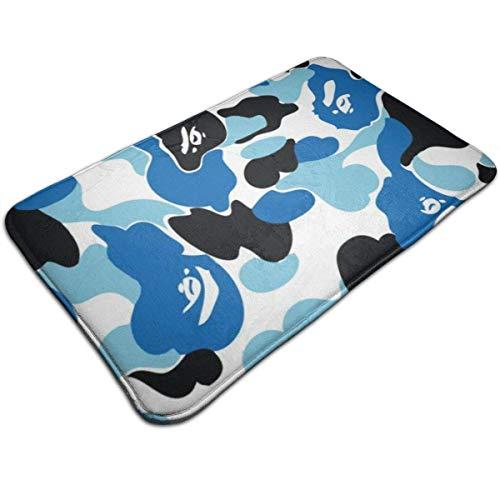Trista Bauer Alfombra de Puerta con Estampado Azul de Camuflaje Alfombra de baño Alfombra de Entrada Alfombra de Suelo Alfombrillas de Goma Antideslizante 50 cm * 80 cm