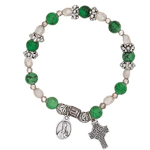 Hail Mary Gifts Religious & Catholic, 4pc 6mm Irish Charm Bracelet - Celtic Cross & St Patrick Medal
