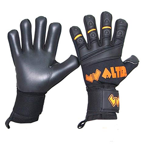 Walter Professional Torwarthandschuhe Modell G-Tex, Black-ORANGE Fluo, 9.5