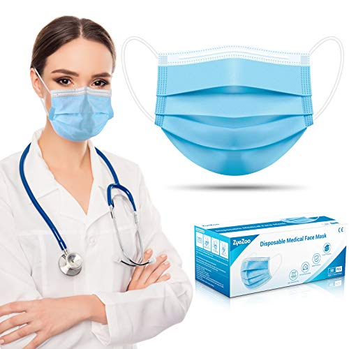 Face Mask Disposable 50pcs, 3 Ply Breathable Medical Face Masks, Soft Procedure Earloop Safety Mask, Mouth and Nose Cover Mask for Adults and Teens Use