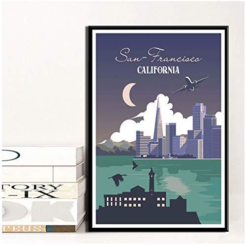 DNJKSA York Holanda Amsterdam Viajes Ciudades Paisaje Pintura Cartel Impresiones Lienzo Cuadro de Pared para decoración de habitación del hogar-20x30 en sin Marco