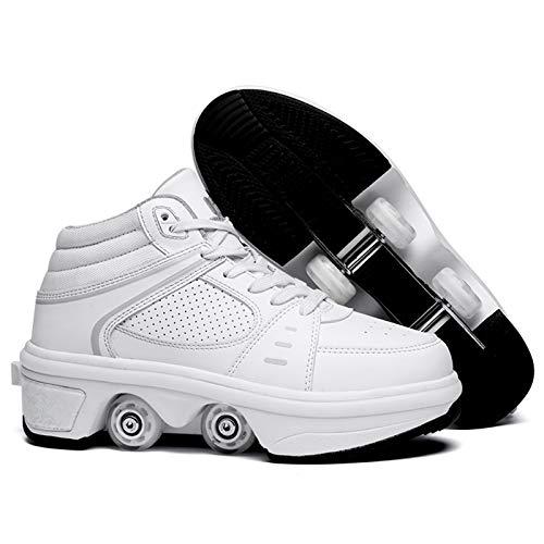 Rollschuhe LED Lichter Blinken Skateboard Schuhe Kinderschuhe Mit Rollen Skate Shoes Rollen Schuhe Sportschuhe Laufschuhe Sneakers Mit Rollen, Weiß,39