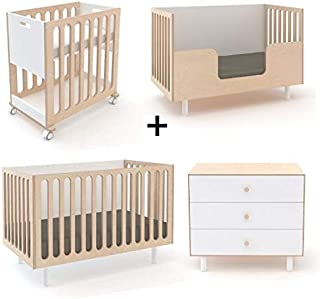Oeuf Fawn Collection Complete Nursery in Birch with 3 Drawer Dresser