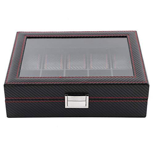 ZJchao Caja de 10 ranuras para relojes de piel sintética de poliuretano, para viajes, fibra de carbono, expositor de joyas, organizador para almacenamiento y visualización