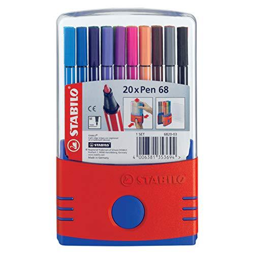 20 Fasermaler STABILO® Pen 68 in Klappbox